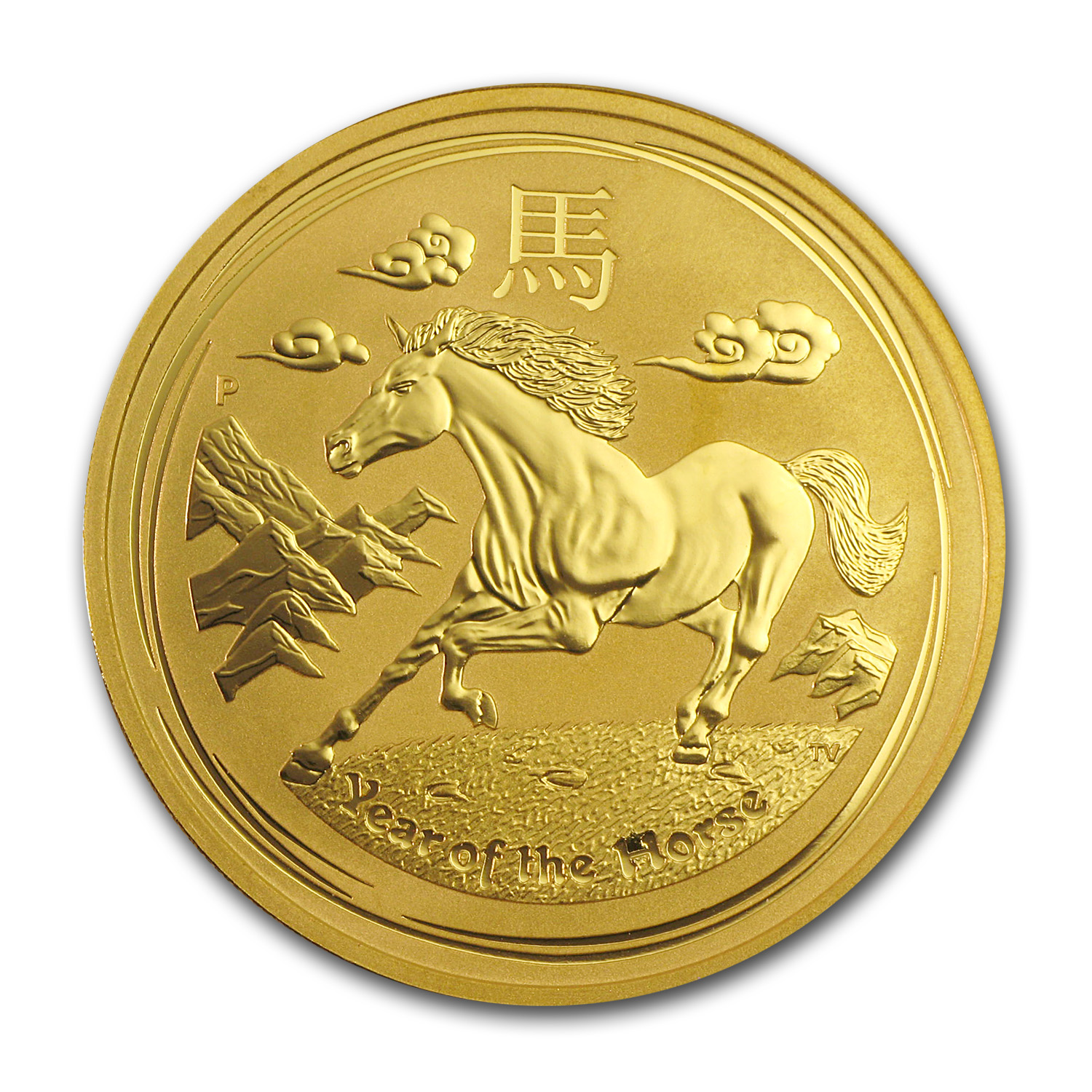 2014 1 oz Gold Lunar Year of the Horse BU (Series II)
